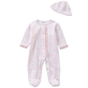 Baby Girls' Damask-Print Footed Coverall & Hat Set